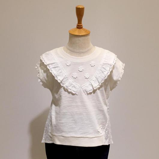 【Souris】 レースカラーTシャツ(157/アイボリー)80-130cm