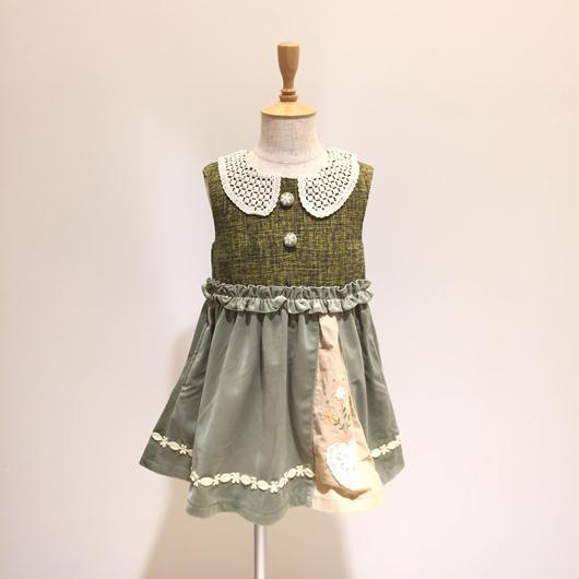 【Souris 】  ツイードジャンパースカート(515/クリーム)100-130cm