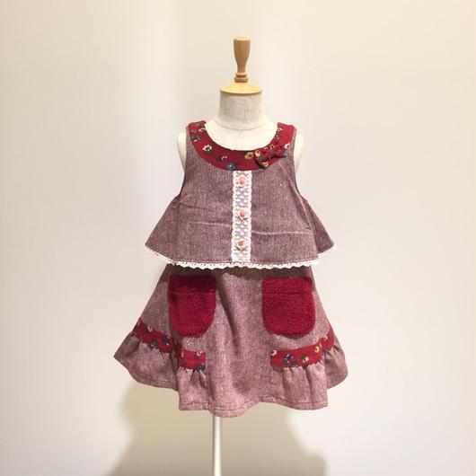 【Souris 】ツイードジャンパースカート(577/ワイン)90-140cm