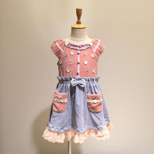 【Souris 】ベロアジャンパースカート(520/ピンク)90-130cm