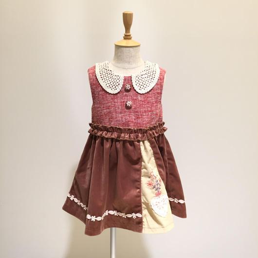 【Souris 】  ツイードジャンパースカート(515/レッド)90-110cm