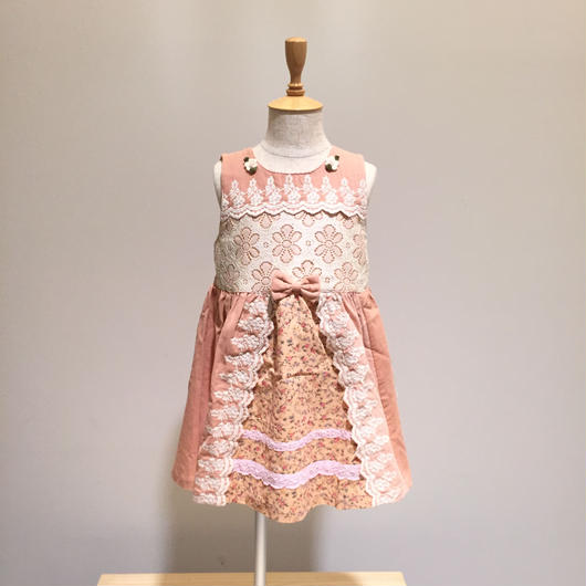 【Souris 】レース加工ジャンパースカート(510/ピンク)90-110cm