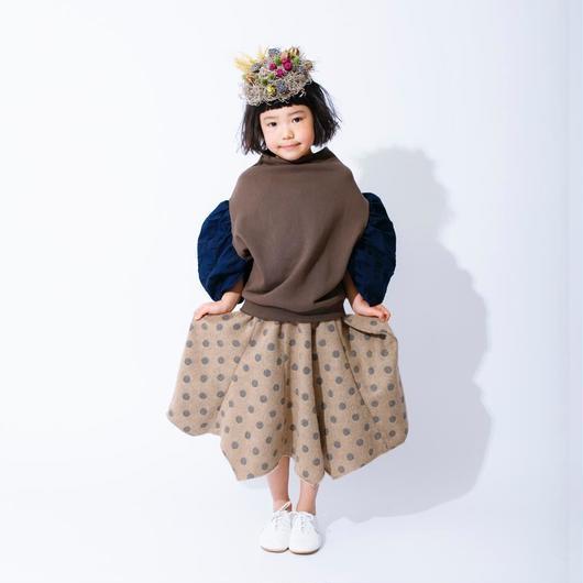 nunuforme /ギャザースリーブトレーナー Brown 95-145cm