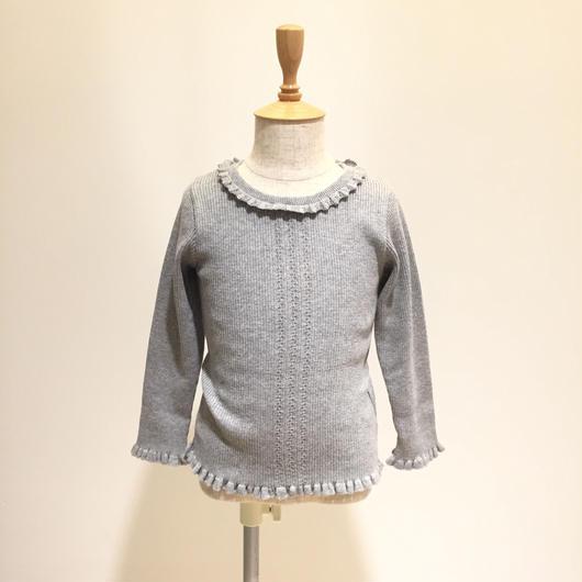【Souris 】  ラウンドカラーセーター(406/杢グレイ)90-130cm