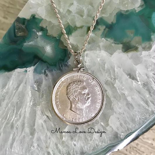 1883年 カラカウアキング ハワイアン25㌣ コイン シルバーネックレス