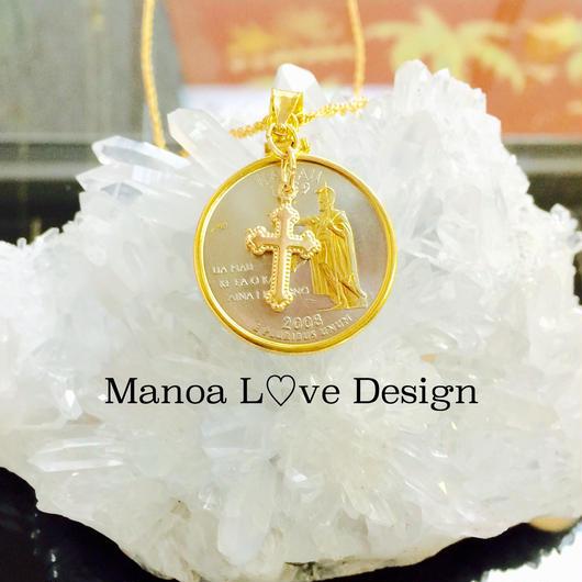 Manoa Love Design/ハワイコイン 24金カメハメハ&島、加工