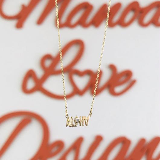 14K ALOHA ハンドカット ダイヤモンドネックレス