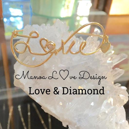 ネームブレス+ ダイヤモンド(4月誕生石)