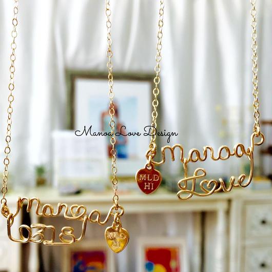 Manoa Love Design 14K  ダブルカスタムネームネックレス