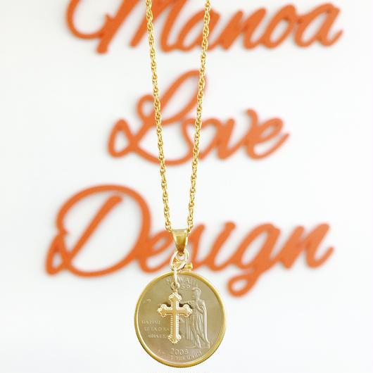 Manoa Love Design/ ユニセックス/Hawaii state 25¢コイン&クロスネックレス