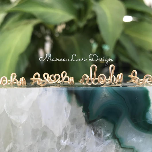 Manoa Love Design/ Aloha, Al♡ha, aloha,A🌊ohaリング