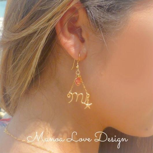 Manoa Love Design/ 14K Gold f イニシャルチェーン シェル&ヒトデピアス