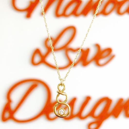 14K  ナンバー8 ワンポイントダイヤモンドネックレス