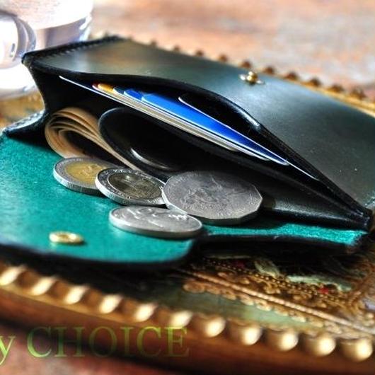 イタリアンレザー・帝王ブッテーロ・ミニマム財布(グリーン)