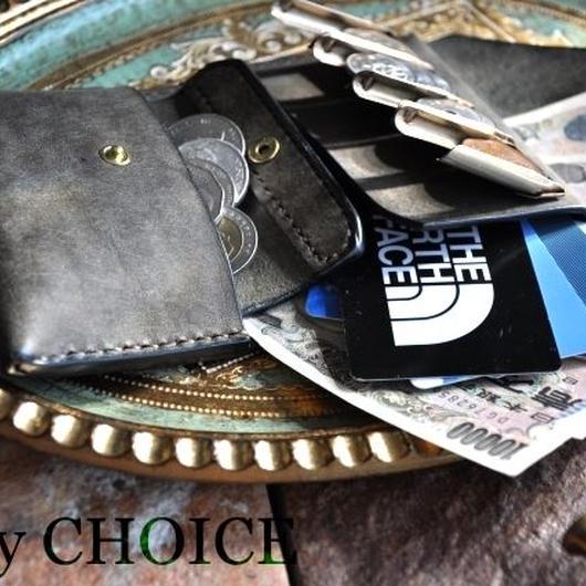 イタリアンレザー・革新のプエブロ・2つ折りコインキャッチャー財布(改)(グリージオ)