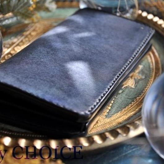 イタリアンレザー・革新のプエブロ・長財布(ネイビー)