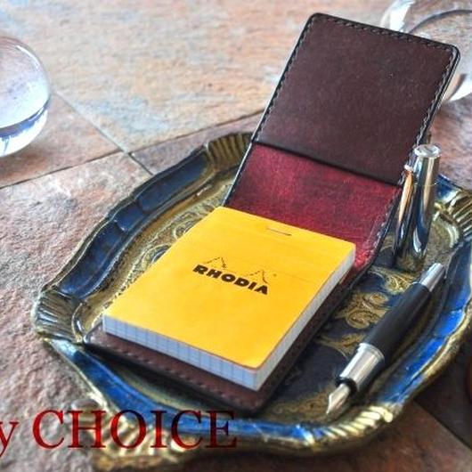 イタリアンレザー・革新のプエブロ・ロディアメモ帳ホルダー(コッチネラ×ショコラ)