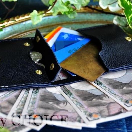 イタリアンオイルレザーアリゾナ・コンパクト2つ折り財布(黒)
