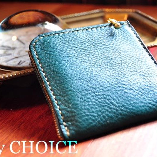 イタリアンオイルレザーアリゾナ・L型財布(ターコイズ)