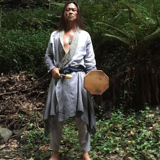 男神-ogami-ジャケット&パンツセット(麻炭・藍・シュンガイト染め)