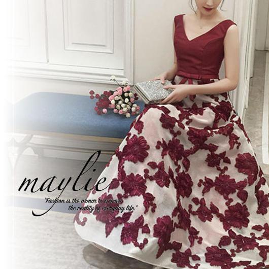 【即納★2-5日着】立体モチーフ メッシュスカート ロングドレス