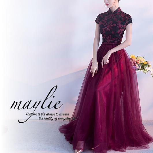 【即納★2-5日着】マンダリンカラー メッシュスカート ドレス