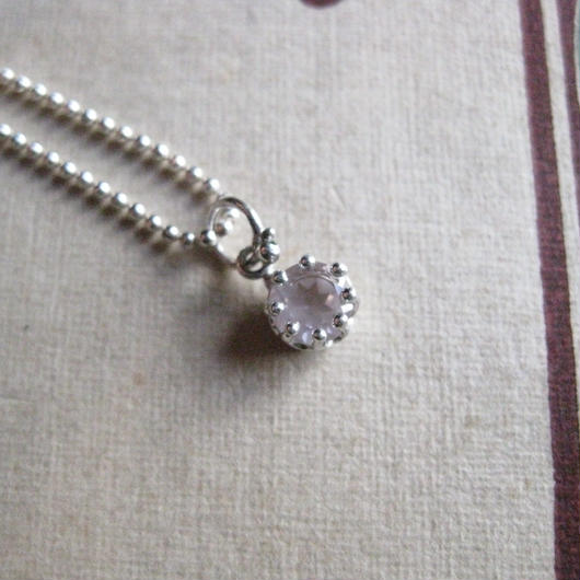 Milk Crown Necklace -Rose-quartz-5mm※オーダー後制作