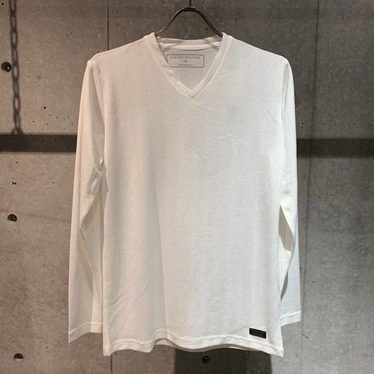 【Custom Culture】ヘリンボーンジャガード  VネックロンT ホワイト