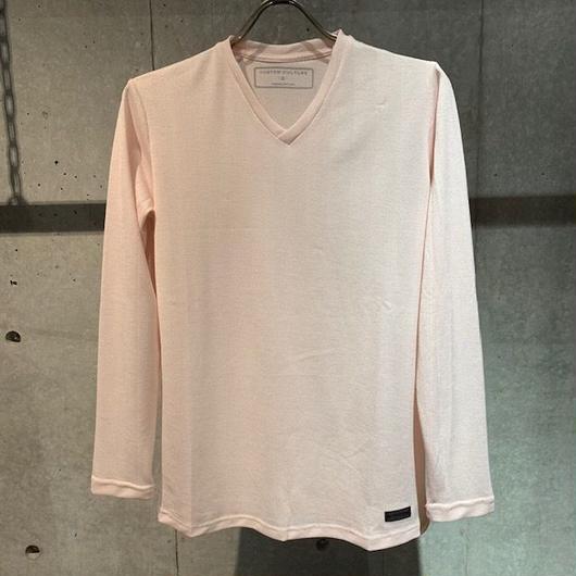 【Custom Culture】ヘリンボーンジャガード  VネックロンT ピンク