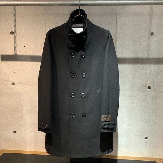 【Custom Culture】ヘビーメルトンW前スタンドカラーコート ブラック