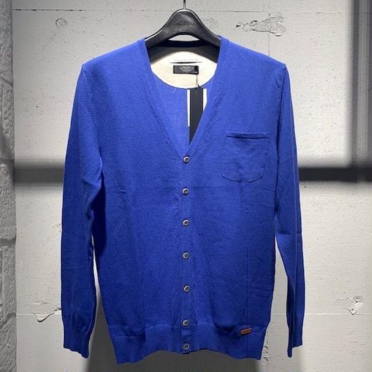 【PAZZO】12GGクレープコットン ニットカーディガン ブルー
