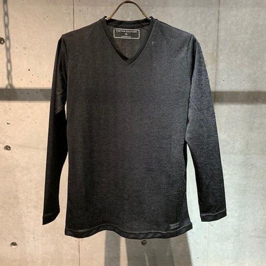 【Custom Culture】ヘリンボーンジャガード  VネックロンT ブラック