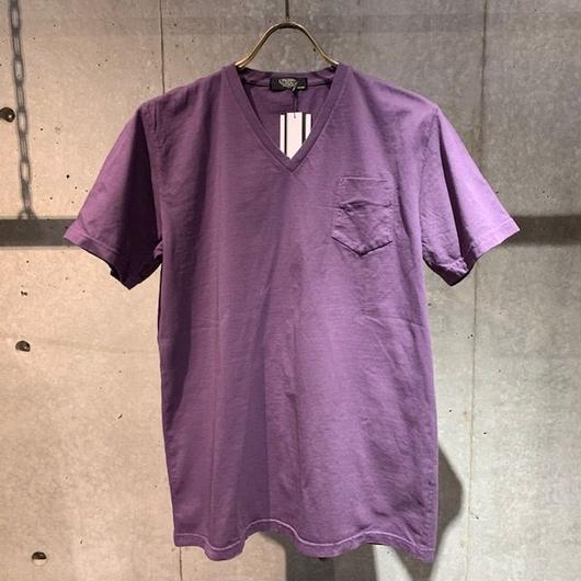 【PAZZO】製品染め VネックTシャツ パープル