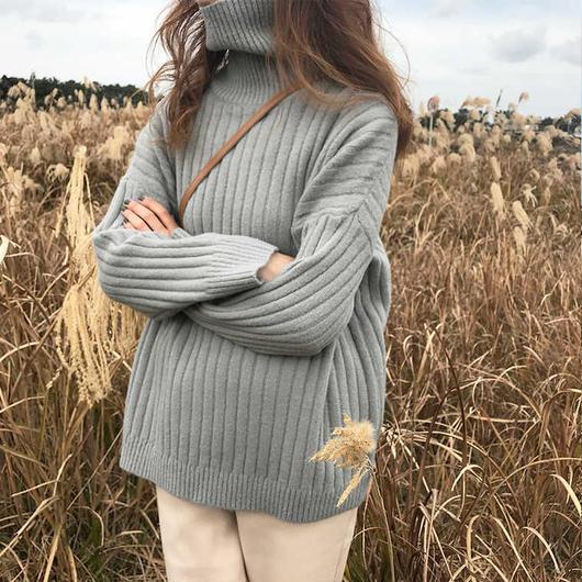 rib highneck knit