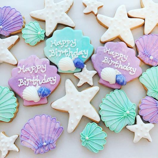 birthday shell cookies