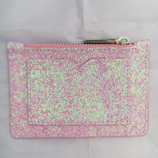 pink glitter coin&pass case