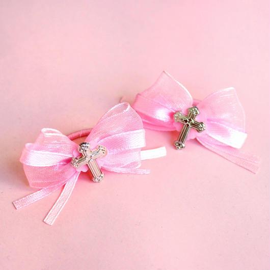 ピンクオーガンジーリボン十字架ヘアアクセサリー/ Pink Ribbon Cross Hair Tie
