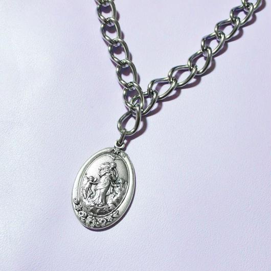 シルバーメダイチェーンネックレス/ Silver Miraculous Medal Chain Necklace