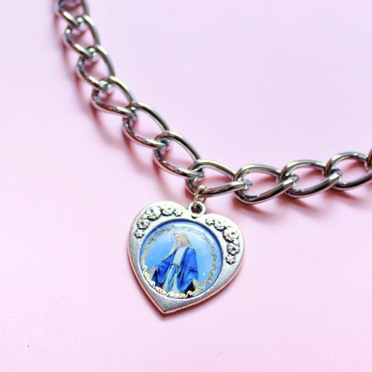ハートメダイチェーンネックレス/ Heart Miraculous Medal Chain Necklace