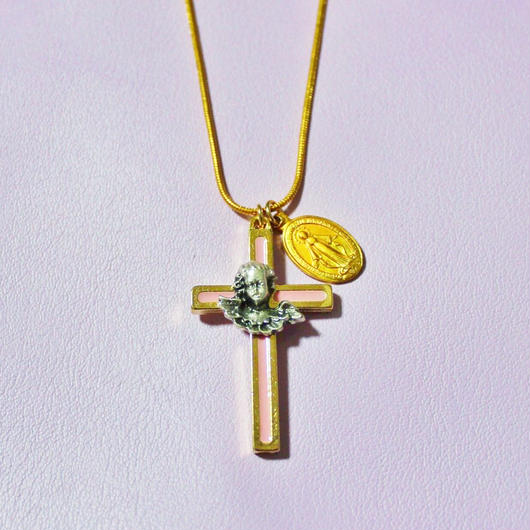 エンジェルゴールドクロスネックレス/ Angel Gold Cross Necklace