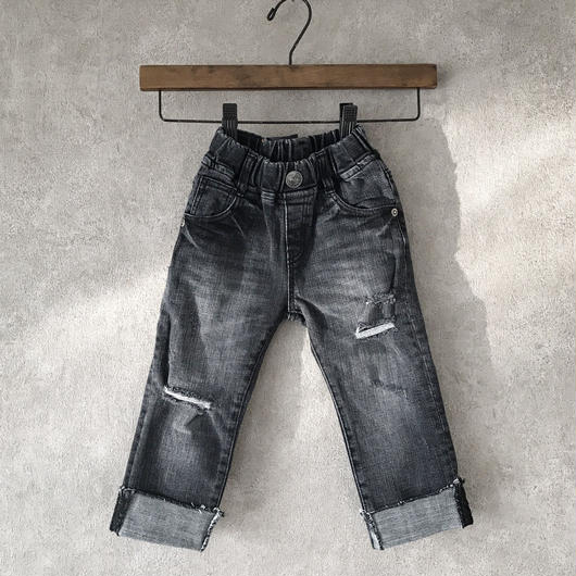 KIDS crash denim .  [ black ]   男女兼用