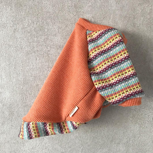 ORIGINAL mulchborder raglan knit . [ orange  L , XL ]