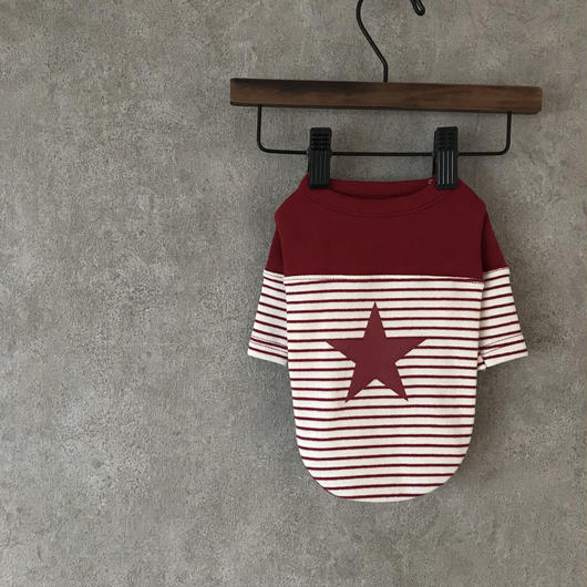 PET star border shirt  ♣︎  red