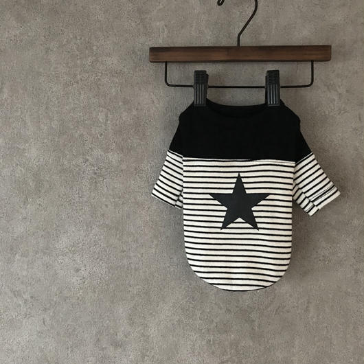 PET star border shirt ♣︎  black
