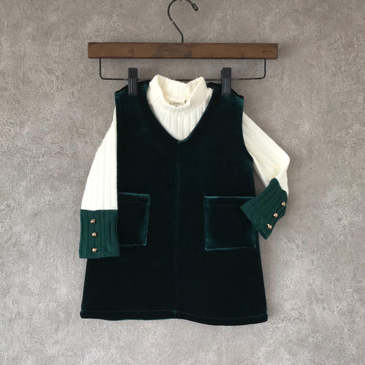 velvet  one-piece & tops  set . [ green ]