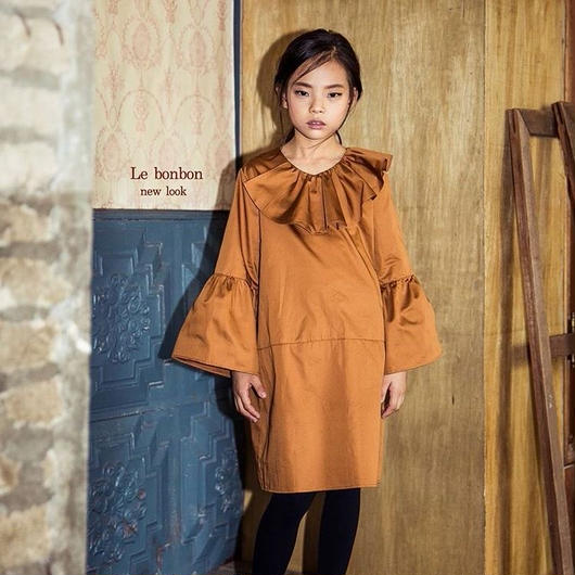 frill  cotton  one-piece  . [ camel ]
