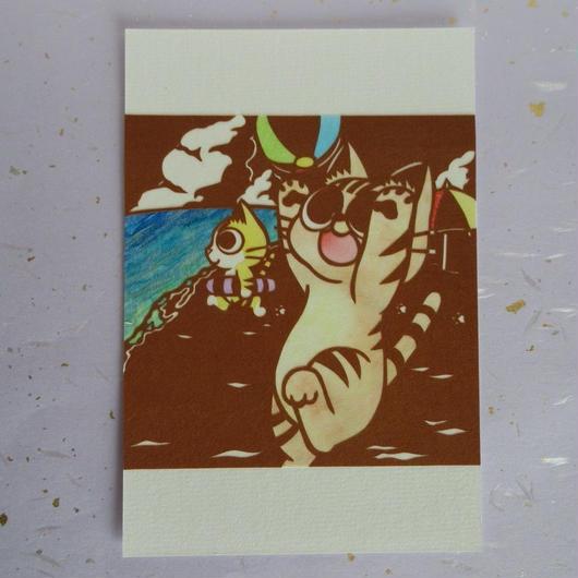 切り絵ポストカード 海遊び