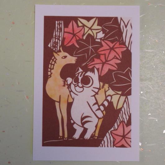 切り絵ポストカード 花札 十月 紅葉
