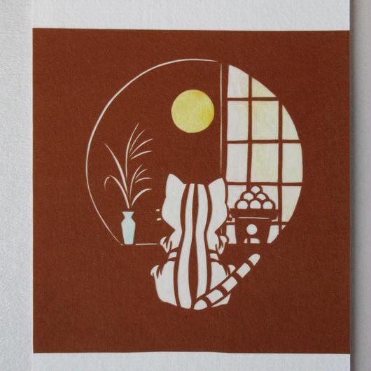切り絵ポストカード お月見丸窓