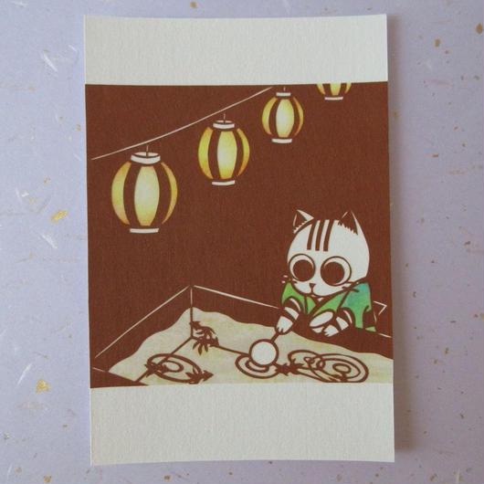 切り絵ポストカード 夏祭り(色つき)